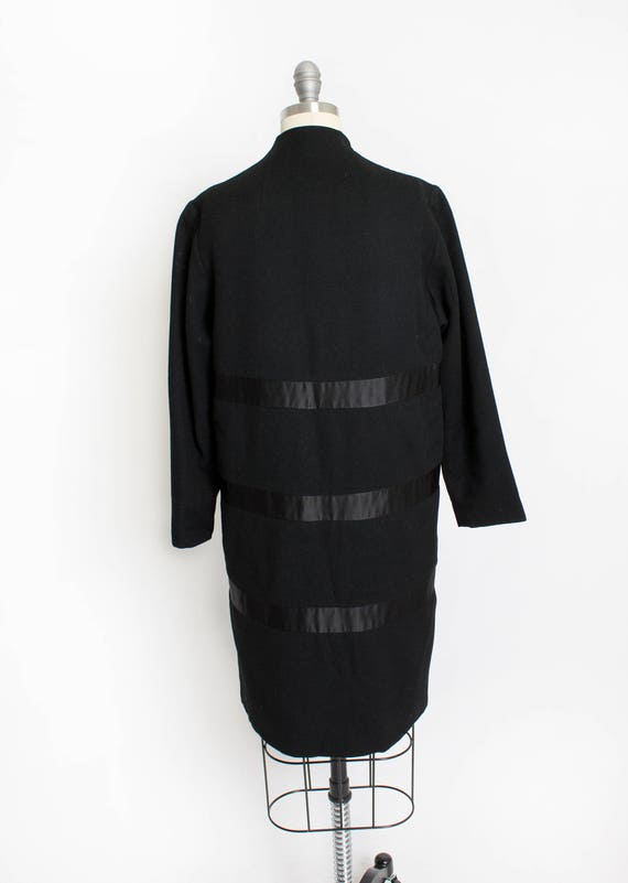 1950s Coat Satin Striped Black Wool Cashmere Small - image 3