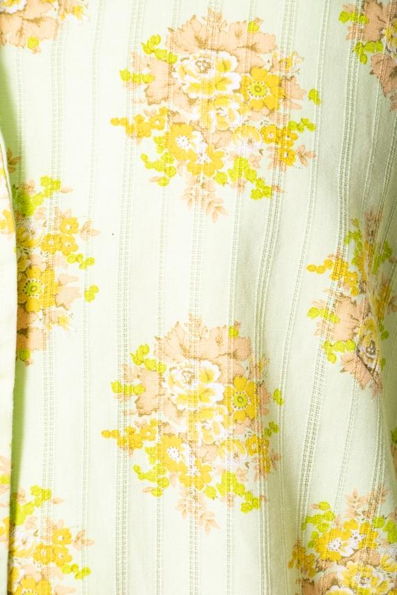 1970s Shirt Dress Green Floral Shift M - image 8