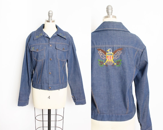 Vintage 1970s Denim Jacket Embroidered Eagle Blue