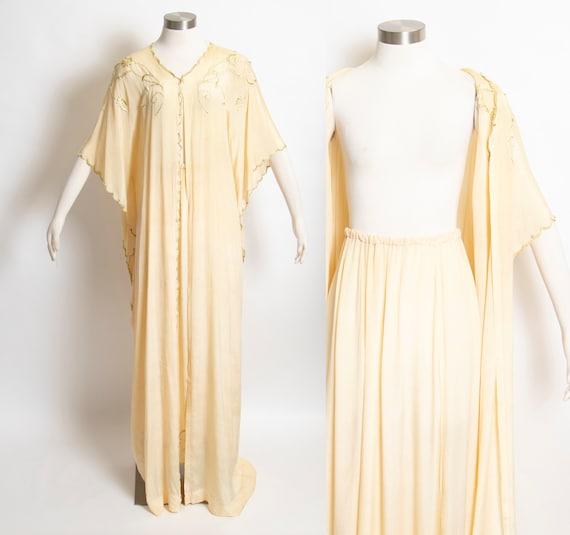 1970s Silk Robe Skirt Lingerie Lounge Caftan Set