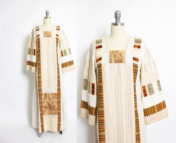 1970s JON SHANNON Caftan Dress Patchwork Maxi S