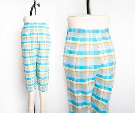 1960s Pants Plaid Blue High Waisted Cotton Pedal P