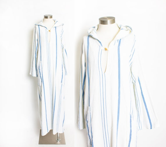 1970s Dress HOODED Cotton Striped Maxi M / L