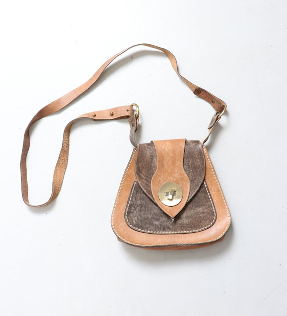 1970s Boho Purse Brown Leather Shoulder Bag