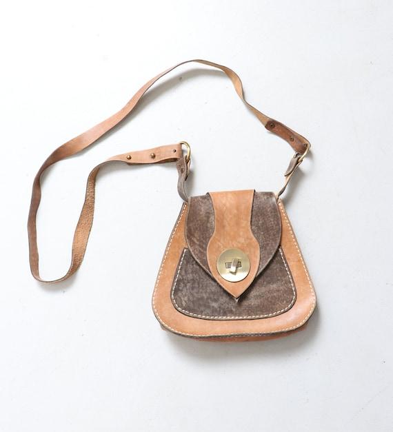 Vintage Boho Purse 1970s Brown Leather Shoulder Ba