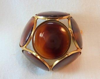Vintage  Modernist Brooch / Pin Dome Shape Amber Color Lucite Mod Retro Minimalist Art Deco