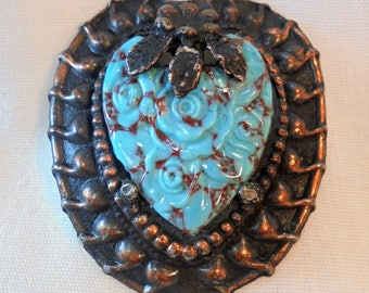 Vintage Copper Brooch / Pin Carved Lucite Flowers Mid Century Retro Boho Signed NY Chunky Large
