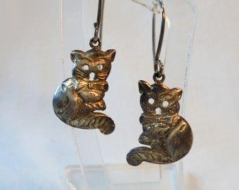 Vintage Sterling Silver Cat Earrings Signed 925 Pierced Dangle 3.1 Grams Kittens Artisan Boho Retro Art Deco