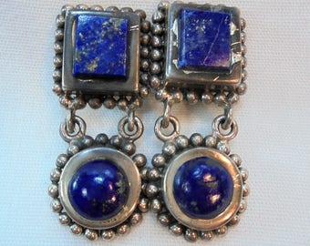 Vintage Sterling Silver Blue Lapis Lazuli Earrings 28.9 Grams Signed 925 Ornate Boho Native Pierced Retro Tribal