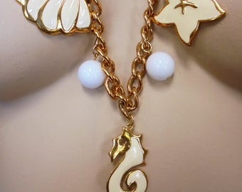 Vintage NAPIER Enamel Charm Necklace Gold Tone Metal Nautical Retro Designer STATEMENT High End Designer Mid Century