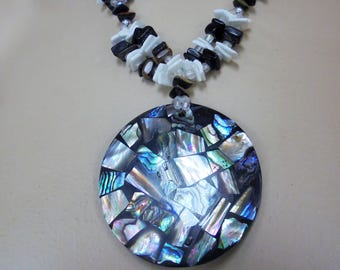 Vintage Pendant Necklace Inlaid Abalone Shell Glass Puka Black Acrylic Retro Chunky Abstract Statement Beach