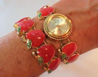 Vintage Enamel Apple Charm Slide Quartz Ladies Wrist Watch / Bracelet Set Jennie B Gold Plated Teachers Gift Retro Statement