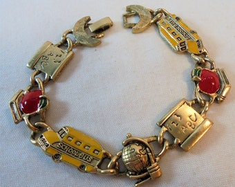 Vintage Enamel Bracelet Teacher's Christmas Gift School Bus Apple Globe Gold Plated Tone Metal Retro Chalkboard
