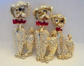 Vintage Poodle / Dog Brooch / Pin Lot / Set of 3 Enamel Gold Plated Tone Figural Red Bow Ties Retro Art Deco Statement Runway