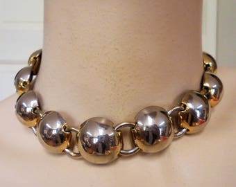 Vintage Collar Necklace / Choker Signed SPERRY Gold Plated Tone Metal Retro Large Metal Runway Statement Art Deco