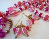 Vintage Pink Celluloid Plastic Lucite Tulip FLOWER Carved Necklace Earrings Set Art Deco Statement Runway Chunky Large