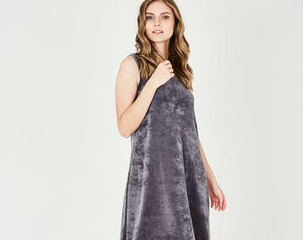 Velvet Maxi Dress, Evening Dresses For Women, Sleeveless Elegant Dresses, Party Dresses, Fashion Dress, Grey Dress, Trendy Dresses