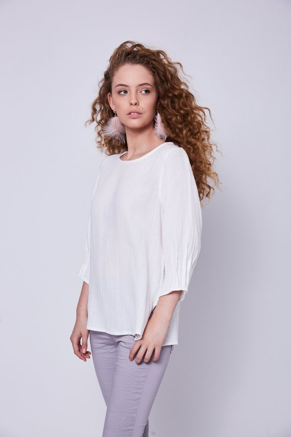 Ethnic Work Oversized Sleeve Mid Unique For Blouses Tops Cotton Fashion Shirts Women Blouse Classic Details White zFw7dF