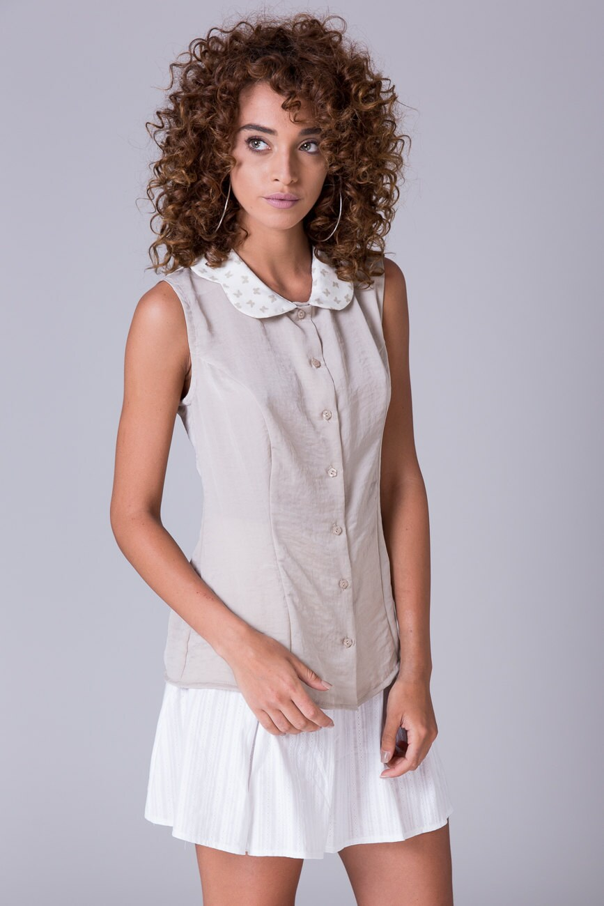 Nude Button Down Blouse Sleeveless Shirt Collared Blouse Taupe Etsy