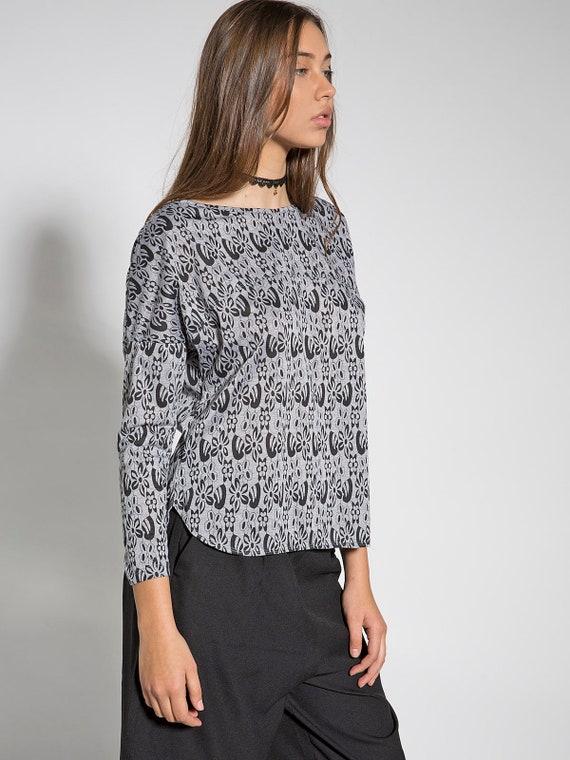 Grey Casual T Loose Office Back Blouse Tops Split Floral Shirt Women Sleeve Shirts Long Wear Unique Cotton 0w1qvW