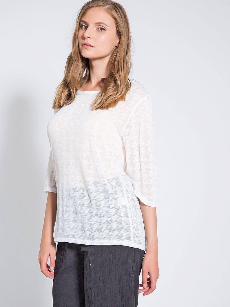 2a3e9d536b3a White Shirt Womens Sheer Blouse Medium Sleeve Shirts