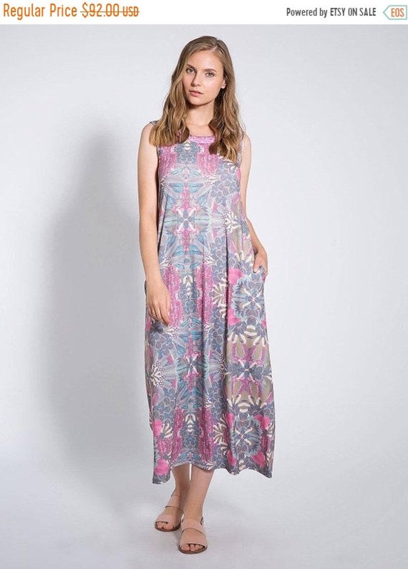 e80743b659dc60 Floral Maxi Dress Loose Fitting Dresses Sleeveless Dress