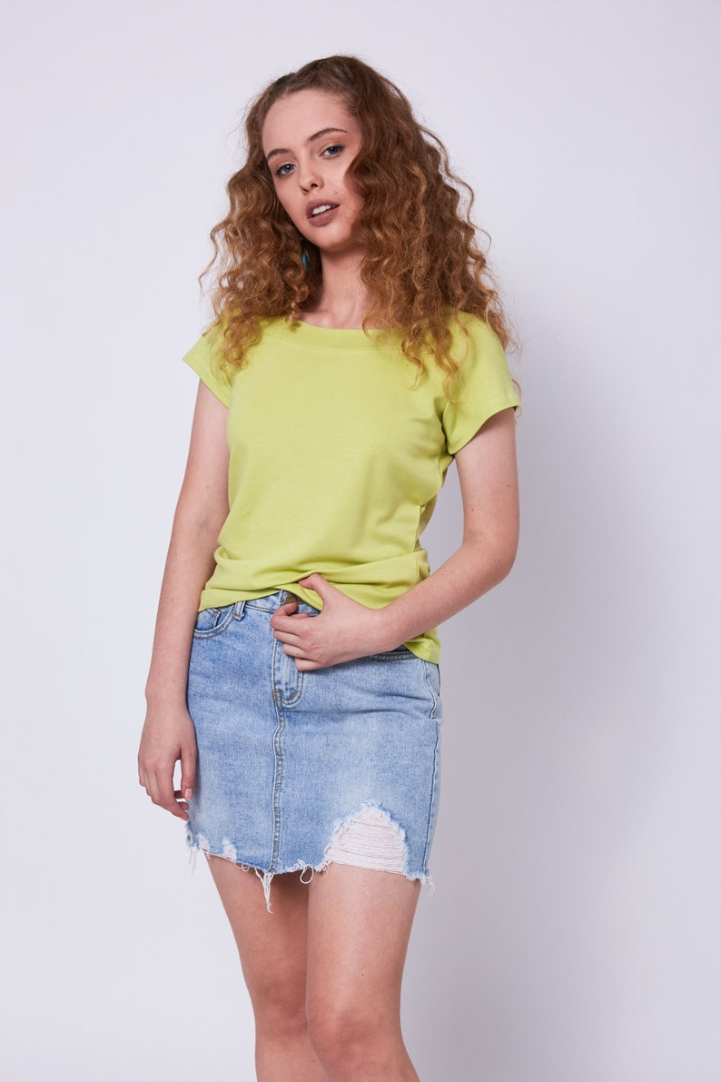 85aff47c9ab41 Lime Yellow Cotton Shirts Women Tight Blouse Short Sleeve