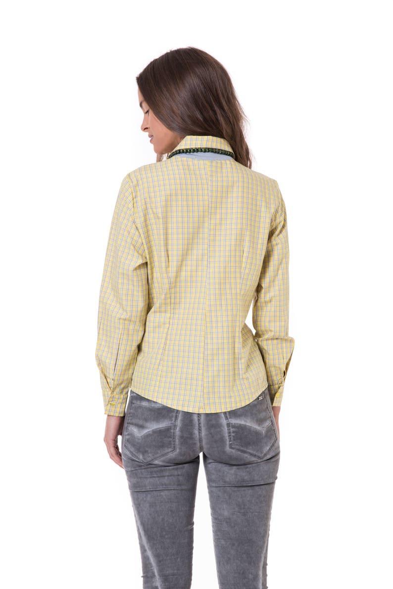 ef4dc41d2d8 Yellow Plaid Shirt Checked Shirt Womens Tailored Shirt Suit