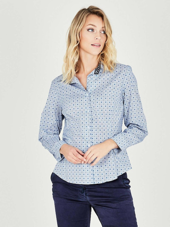Button Long Blouses Top Women Shirts Blouse Size Light Down Office Tops Up For Elegant Shirts Plus Button Tailored Wear Blue Sleeve rUBrw