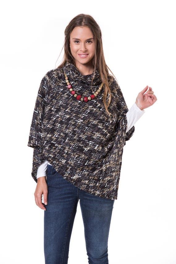 Poncho Poncho Poncho Winter Womens Clothes Cape Poncho Warm Poncho Poncho Black Turtleneck Wrap Tops Navy Wrap Poncho Womens tXfRq