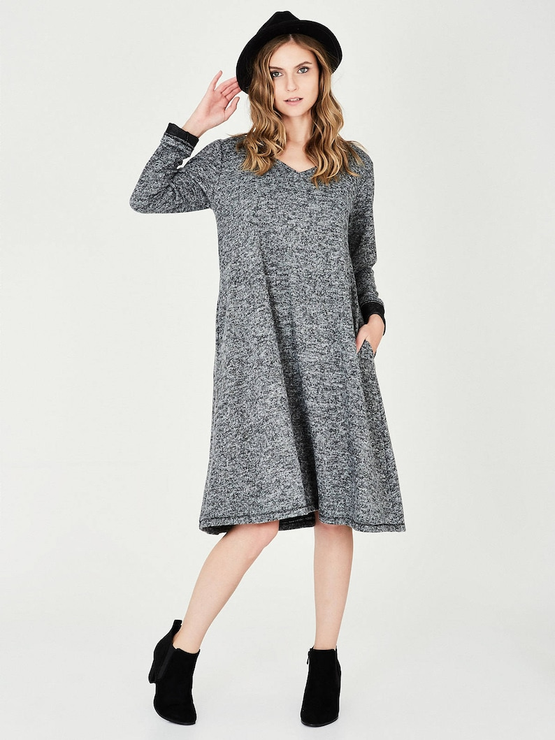 93d0f652d49 Robe longue grise hiver robes robes décontractés pour
