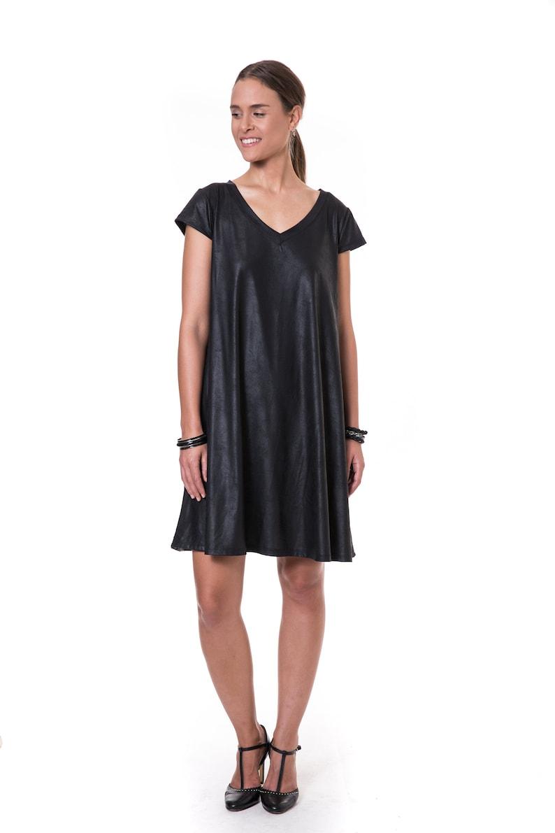 8bb8ddda18 Short Black Dress Women Classic Loose Black Dress Shiny