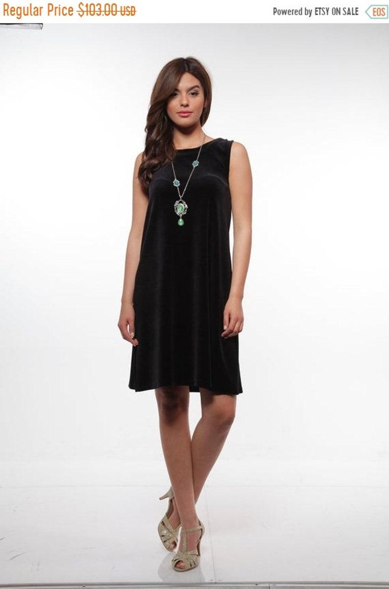 b4dd2e1e697ee ON SALE Women's Black Velvet Dress, Sexy Knee Length Dress, Elegant Summer  Wear