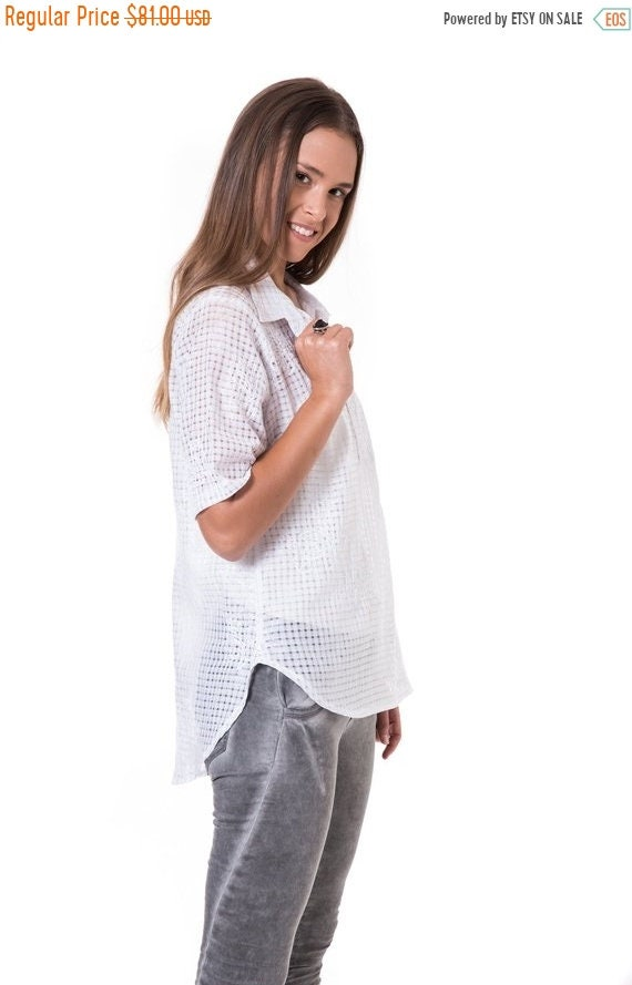 On Sale Sheer White Blouse Smart Casual Women Tailored Etsy