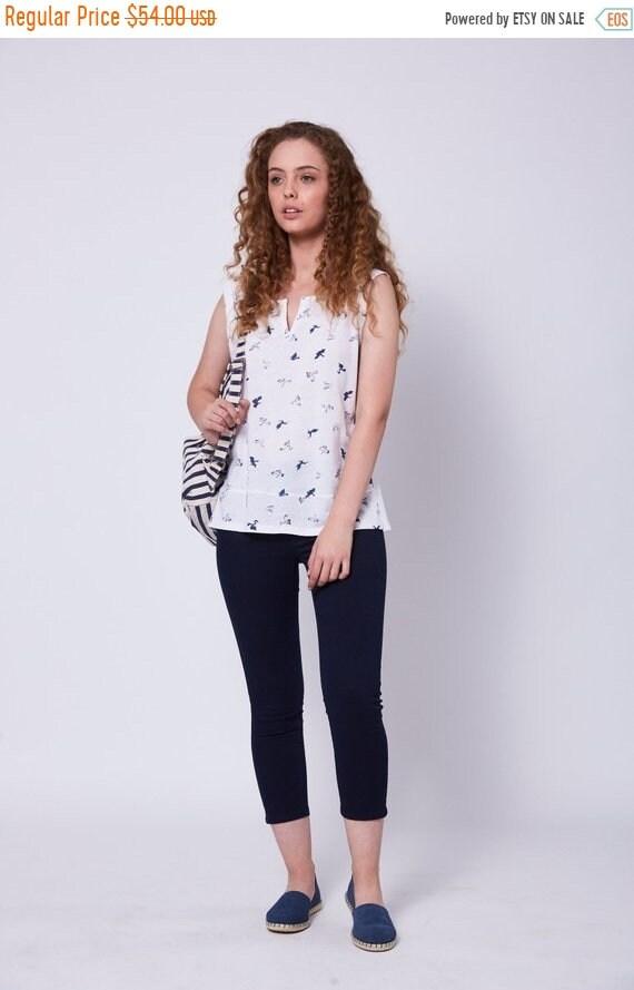On Sale White Bird Print Blouse Short Sleeve Tops For Ladies Etsy