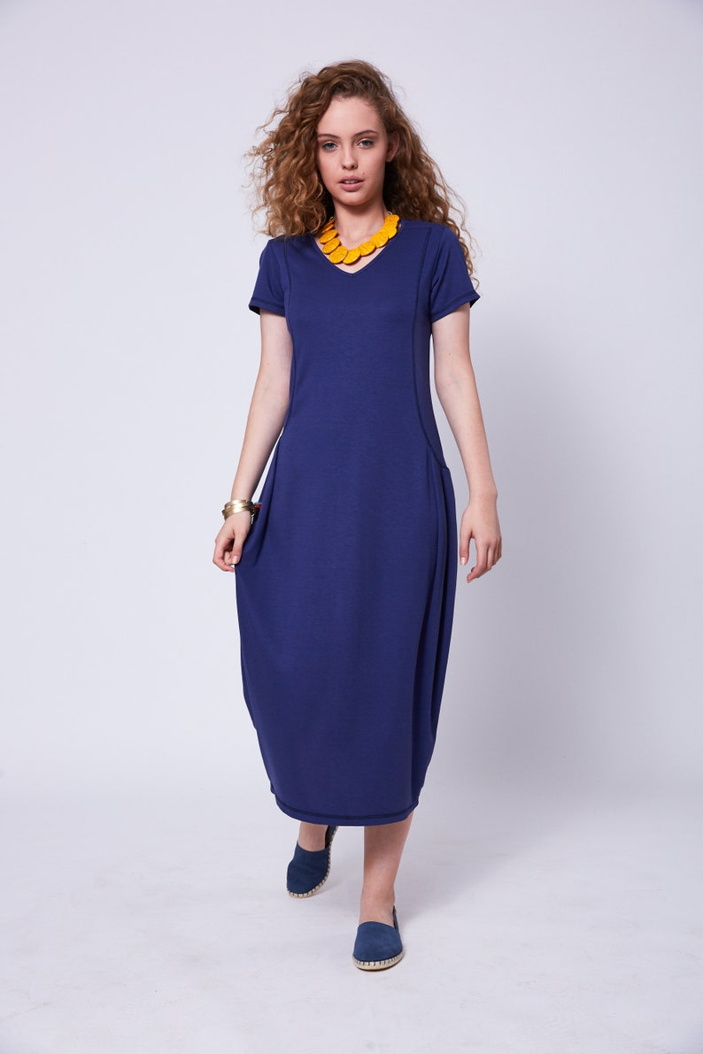 ddcf232ed11 Royal Blue Midi Dress Casual Dresses For Women Balloon