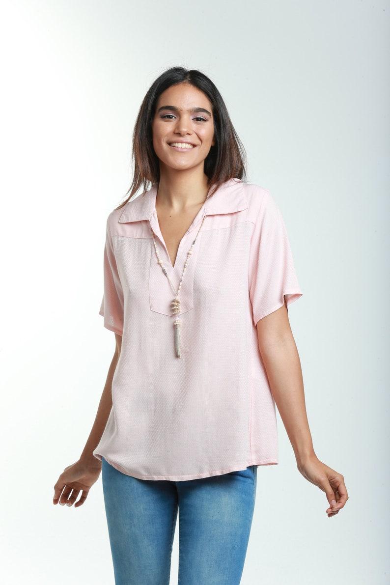 6f7d3d8234bc28 Women Peach Blouse Kaftan Style Shirts Cotton Summer | Etsy