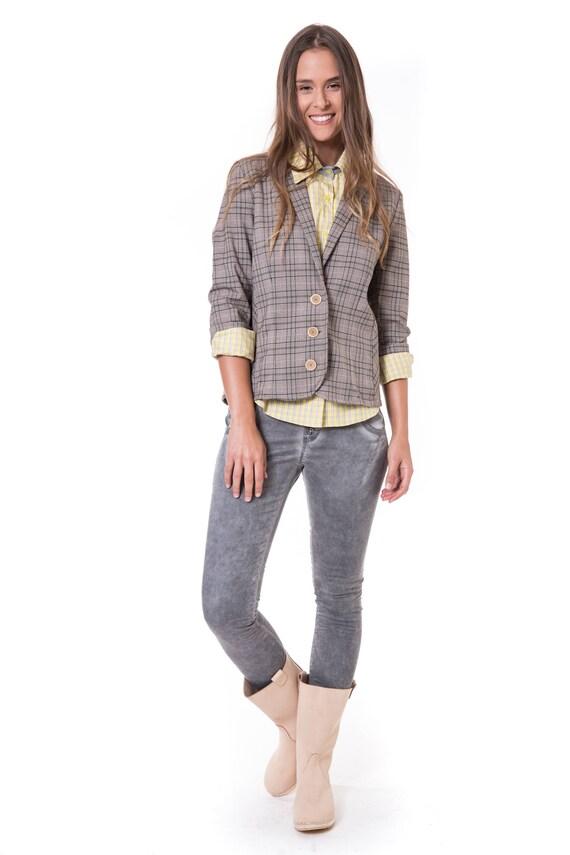 Grey Blazer Women Blazer Jacket Fitted Blazer Elegant Etsy