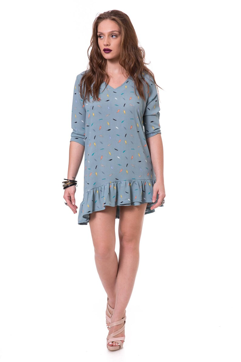 Tunic Dresses With Sleeves Tunic Tops For Leggings Womens Tunic Dress Short Blue Dress Spring Tunics V Neck Dress Light Blue Tunic