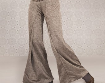Wide Leg Pants, Sexy And Feminine Shape, Leg Flares, Brown Sand Color Pants Set, Jersey Pants, Any Size
