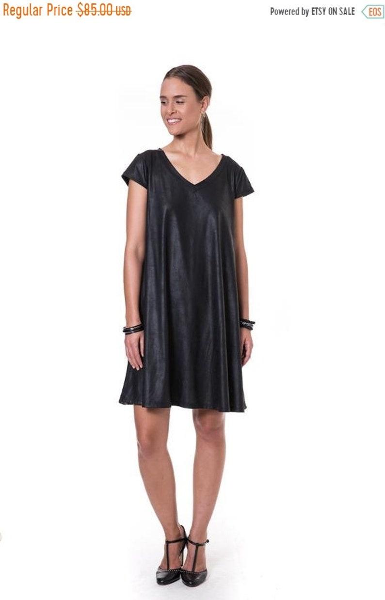 73a1fc49464e Black Loose Dress Oversized Knee Length Dress V Neck Party