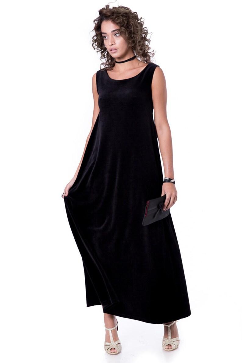 Maxi Dress elegante velluto Abito abito lungo da sera nero  7519ffbb29b