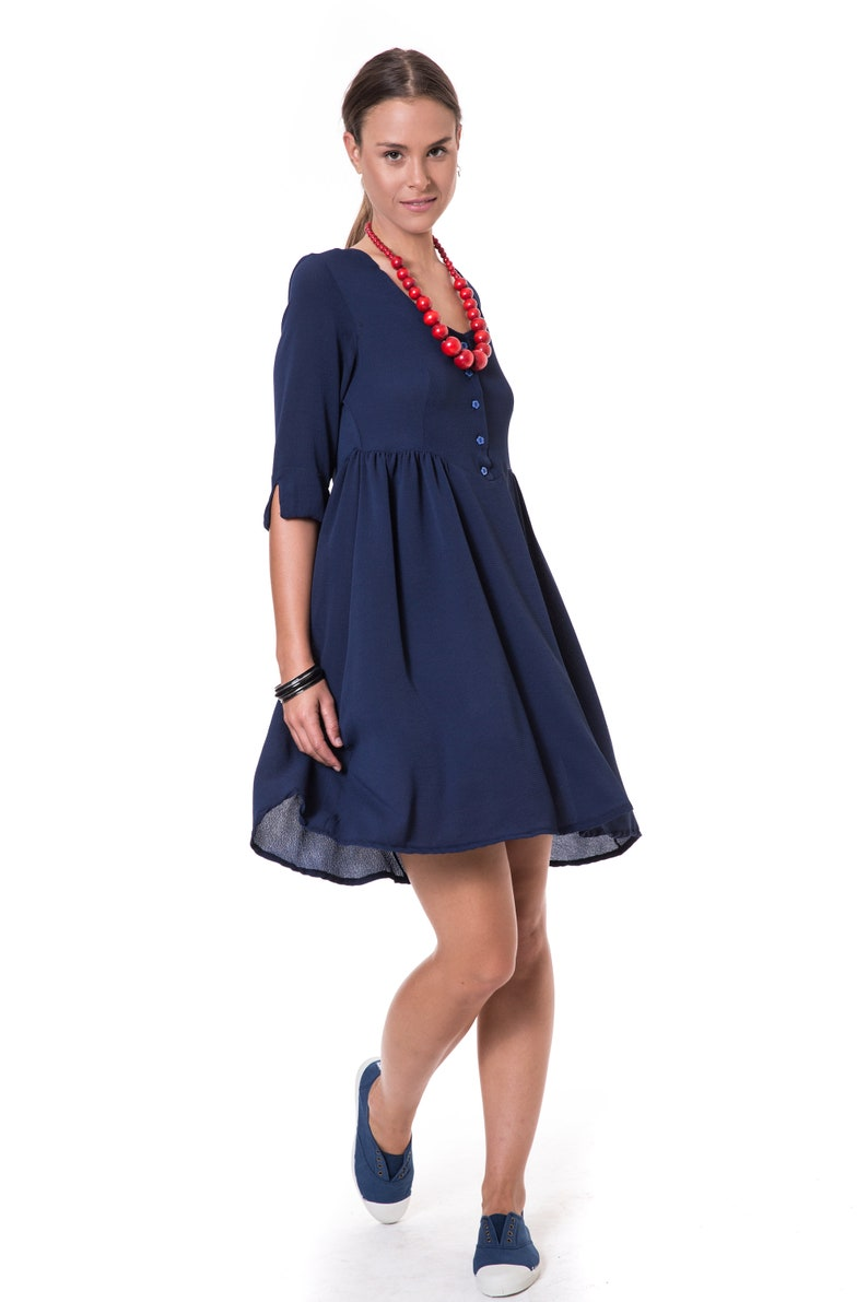 023db8a942be Navy Blue Fit And Flare Pleated Dress A Line Knee Length