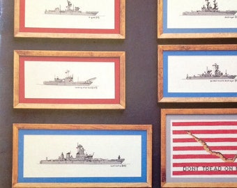Anchors Aweigh Battleship Aircraft Carriers Guided Missile Cruiser Landing Platform Counted Cross Stitch Embroidery Craft Pattern Leaflet