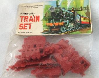 Vintage Miniature FREIGHT TRAIN Plastic Set, red plastic train, NIP, made in Hong Kong