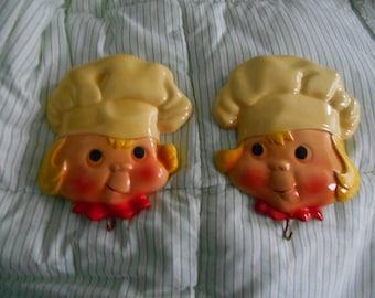 vintage 1964 Miller Studio Chalkware Chefs Cooks, Pot Holder Hooks,Cute! Chalkware Children Faces