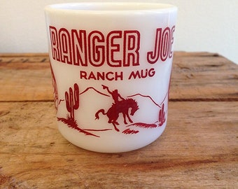 Vintage 1950's Ranger Joe Ranch Red Hazel Atlas Mug Child Cowboy Cup Milk Glass