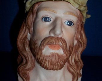 Vintage JESUS Christ Head,Statue with Crown of Thorns Bust,Enesco  1982 E-8843