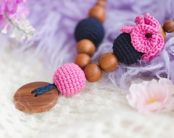 NEW MOTHER GIFT - Navy & Pink Flower Mama Nursing Necklace / Teething Necklace for mom to wear / Mommy Jewelry / Breastfeeding Babywearing