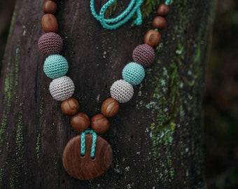 Handmade Button Necklace, apple wood, KangarooCare